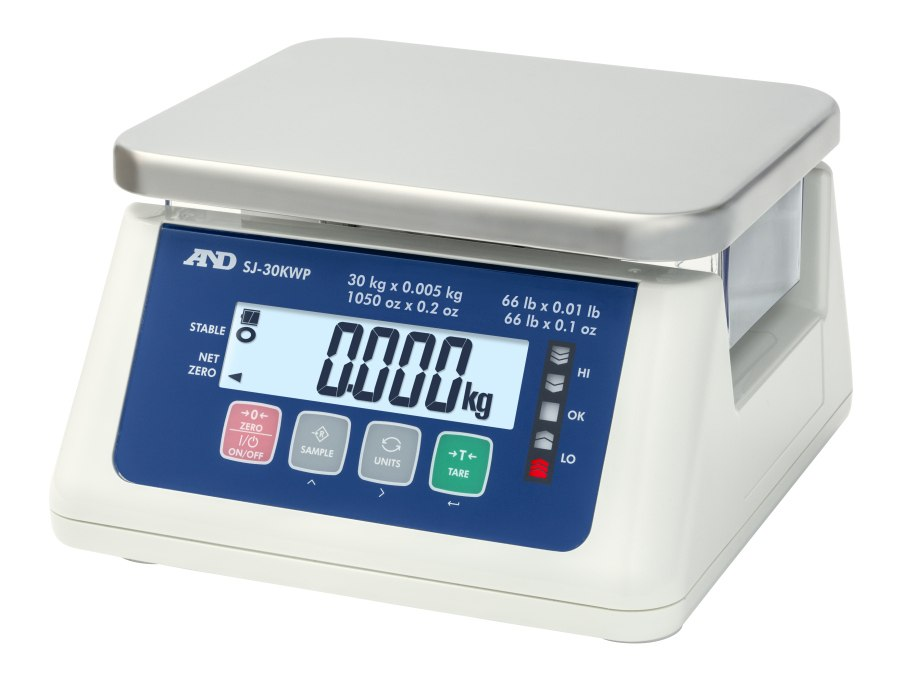 A&D SJ-6000WP 6kg x 2g/3kg x 1g IP67 Dual Range Waterproof Bench Scale